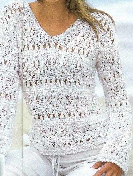 Легкий ажурный пуловер спицами