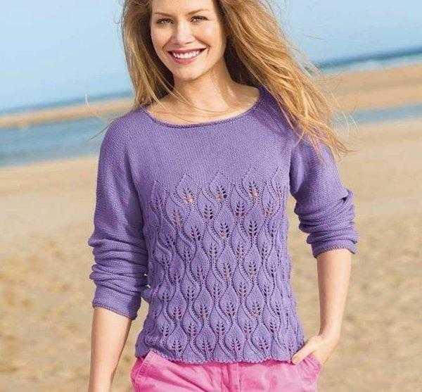 Несколько вариантов вязаных пуловеров со схемами
