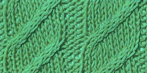 Плотный узор спицами Косы с диагональю
