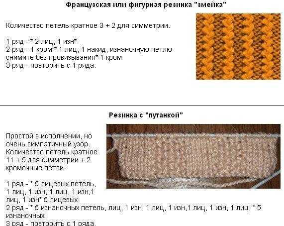 Виды резинок и схемы для вязания