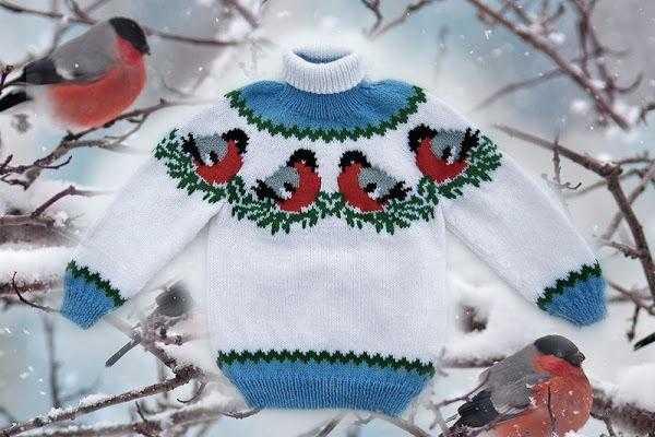 Детский свитер со снегирями