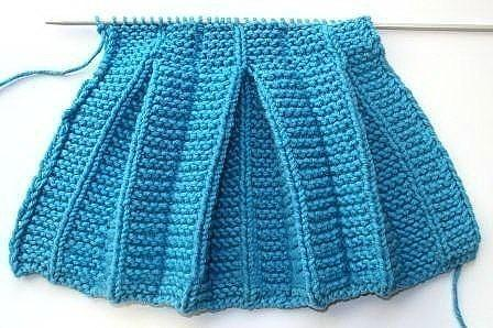 Вяжем складки плиссе для детской юбки