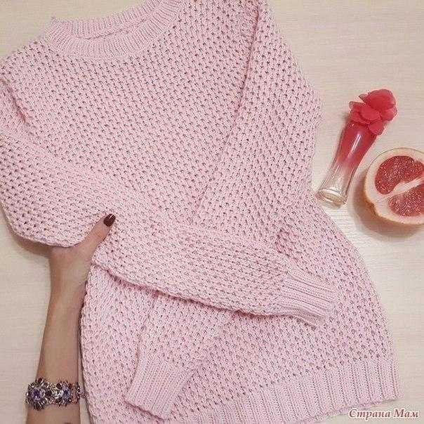 Пуловер узором Соты