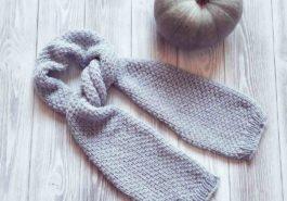 Вяжем мужской шарф спицами