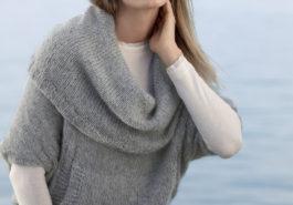 Пуловер с объемным воротником спицами