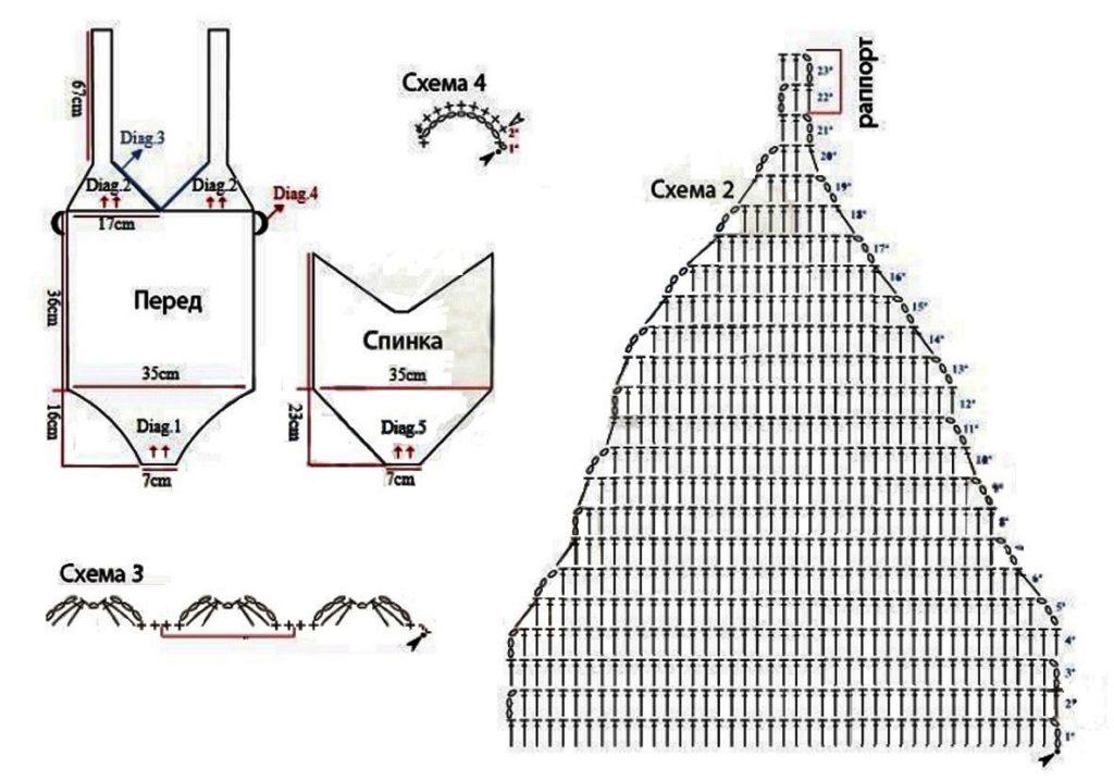 Слитный купальник крючком схемы и описание