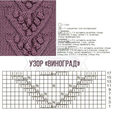 """Узор """"Виноград"""" спицами"""