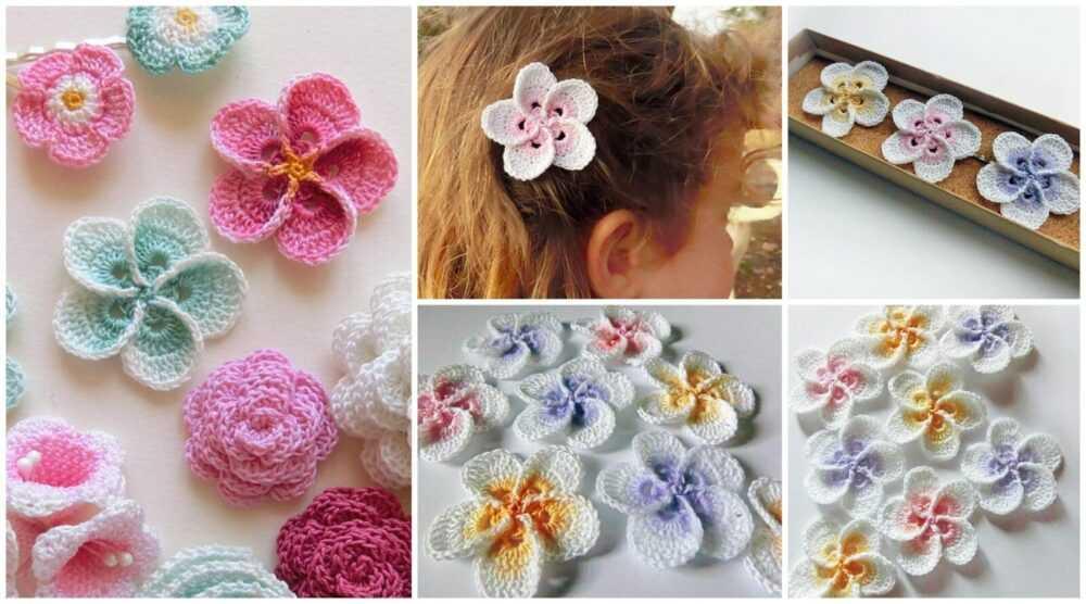 cvety krjuchkom 1 - Вязаные цветы крючком  схемы и описание