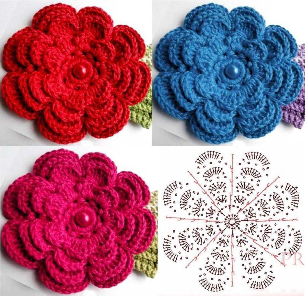 cvety krjuchkom - Вязаные цветы крючком  схемы и описание