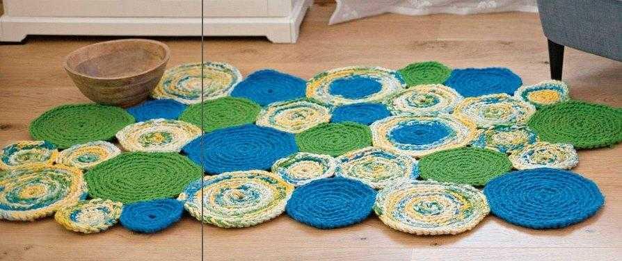 kovrik iz motivov krjuchkom - Вязаные коврики крючком со схемами простые и красивые