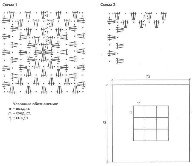 kovrik krjuchkom babushkin kvadrat shemy - Вязаные коврики крючком со схемами простые и красивые