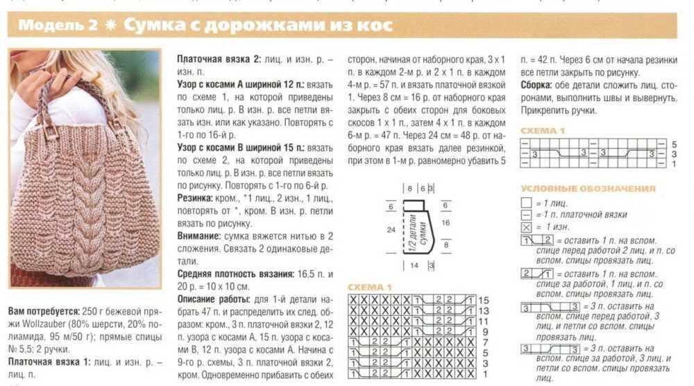 vjazanaja sumka spicami 2 - Вязаные сумки спицами схемы и описание