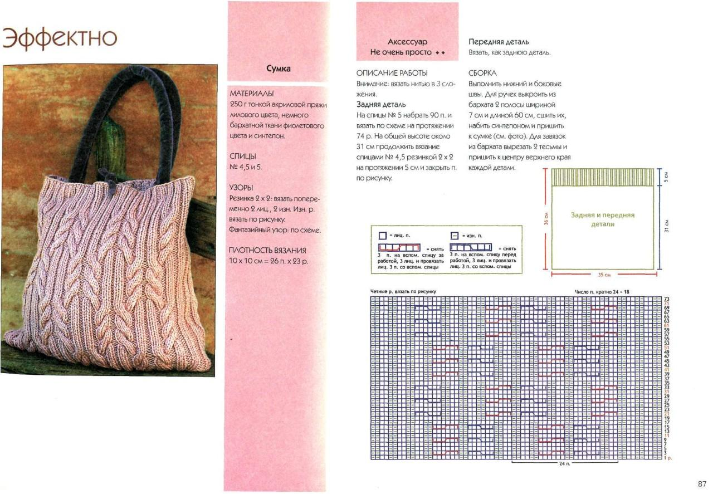 vjazanaja sumka spicami 3 - Вязаные сумки спицами схемы и описание