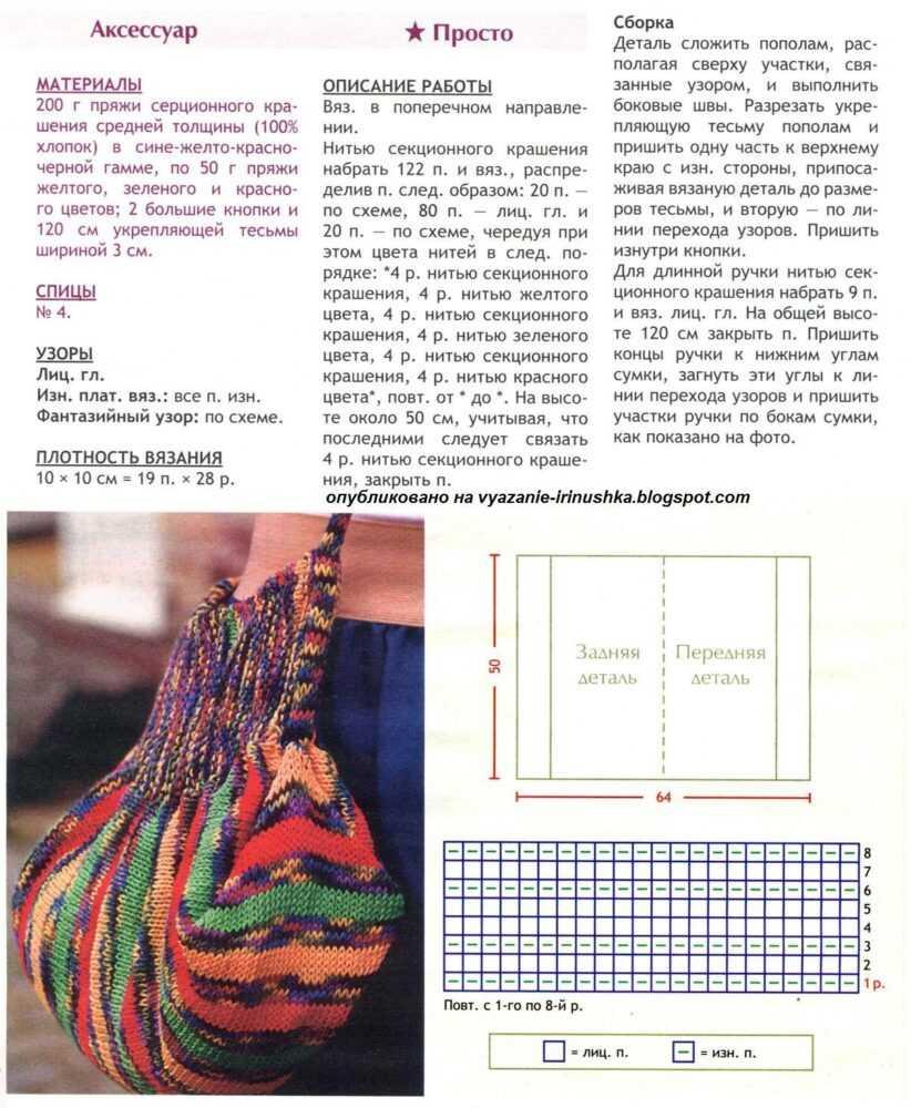 vjazanaja sumka spicami 5 - Вязаные сумки спицами схемы и описание