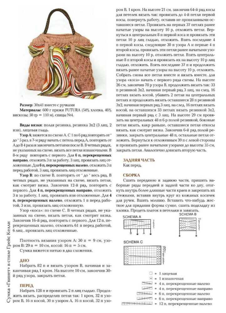 vjazanaja sumka spicami 6 - Вязаные сумки спицами схемы и описание