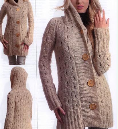 Вязаное пальто спицами с капюшоном. 2 модели