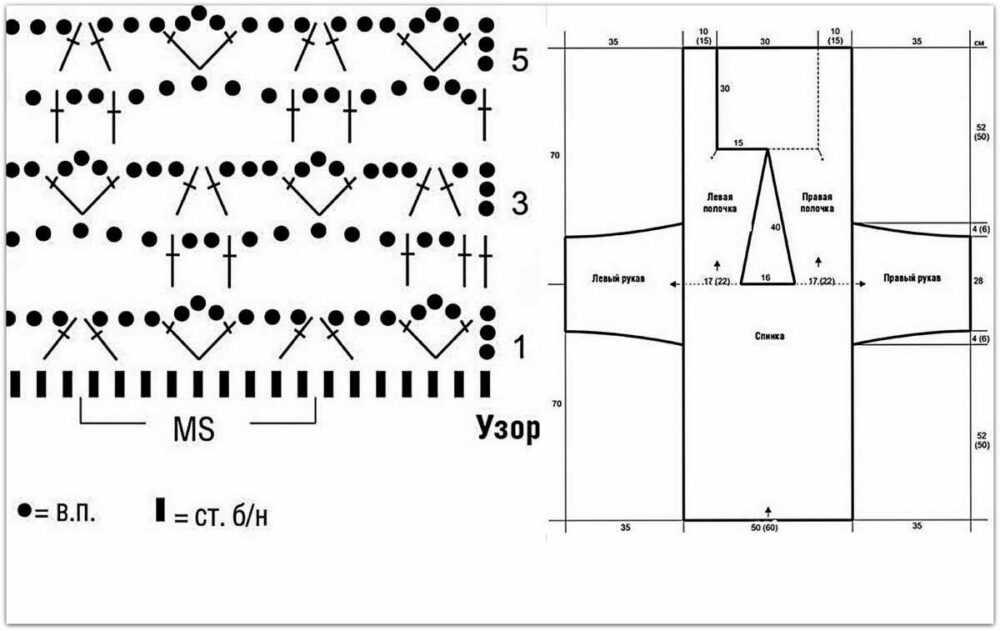 Схема узора и выкройка к Кардигану №6 ☺