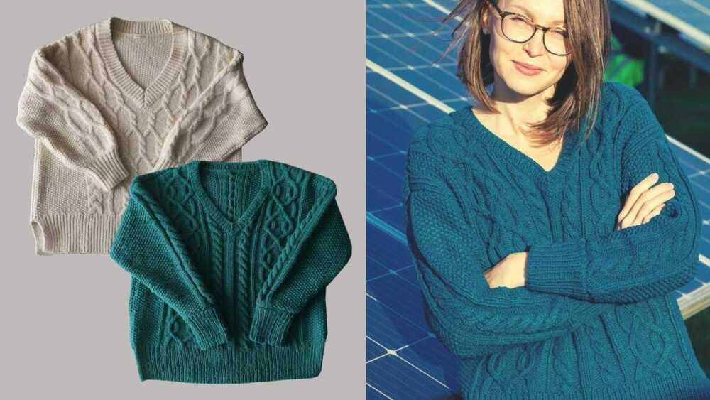 Молочно белый свитер — магазинный, изумрудный — связала я, взяв за основу белый