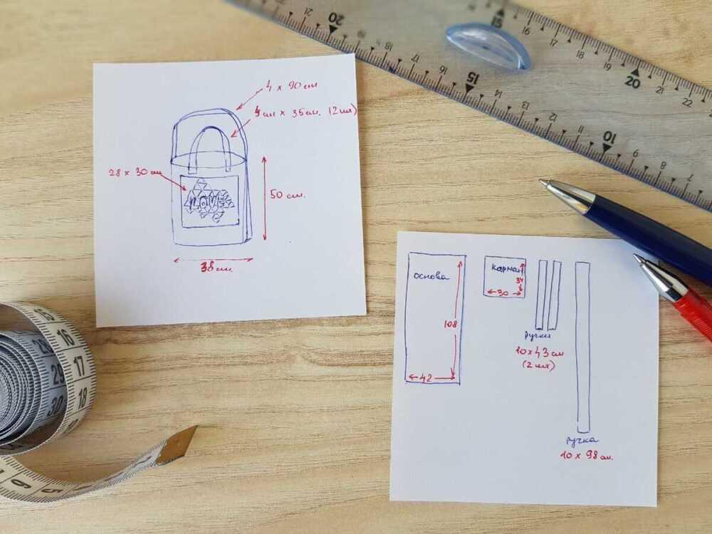 Эскиз сумки с размерами в готовом виде. Деталировка каждой детали с размерами при раскрое