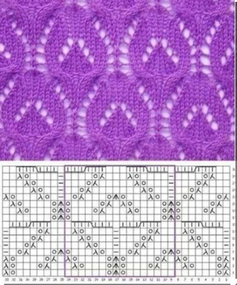 Подборка из красивых вариантов узора «Листья» для вязания спицами