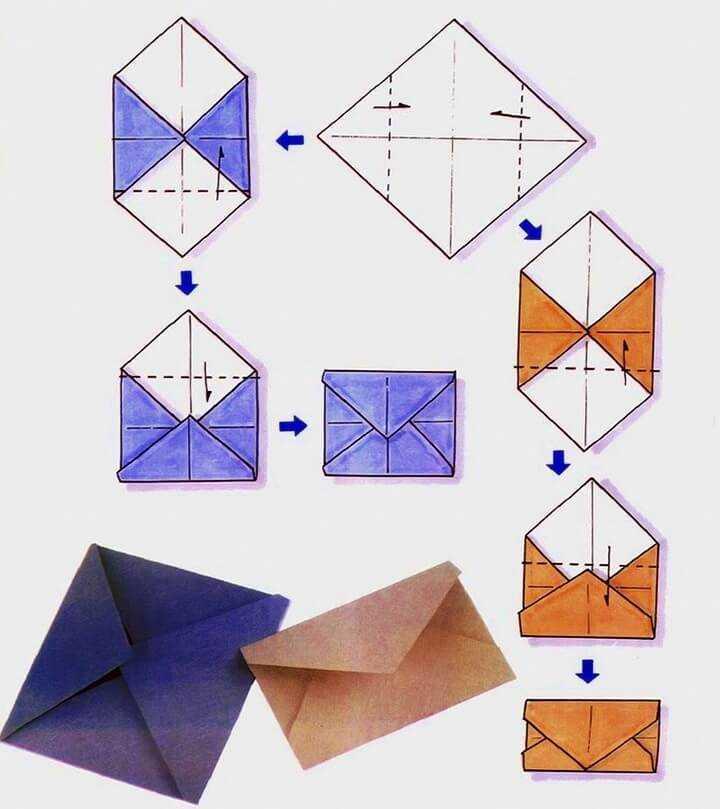 конверт схема оригами