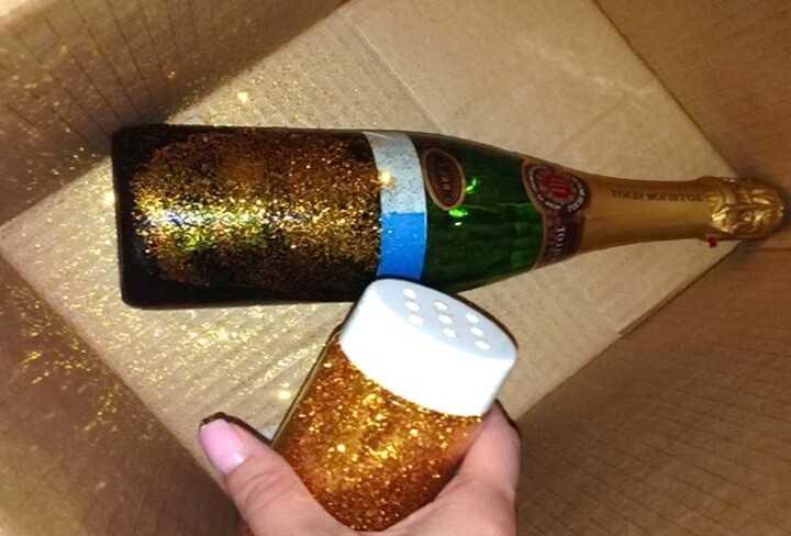 Оформление бутылок шампанского к 8 марта