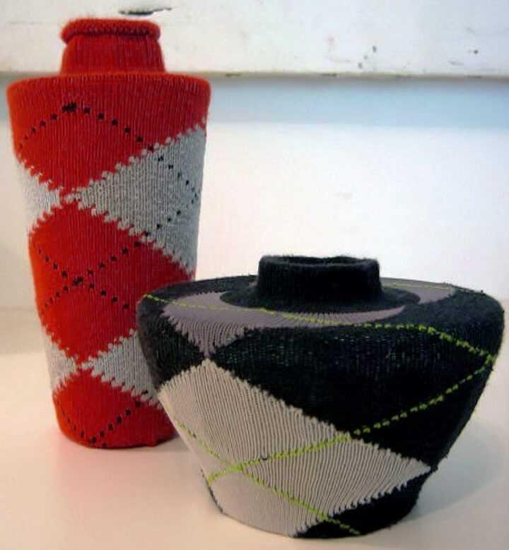 декор вазы из носков