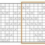 На этой схеме нечетные номера рядов справа, четные слева, а раппорт обозначен толстой оранжевой линией. Пересчитав клеточки горизонтальной строки, ограниченной оранжевым, можно узнать, что раппорт этого рисунка составляет 11 петель в ширину. В высоту же раппорт этого рисунка составляет 14 рядов, это видно по их номерам.