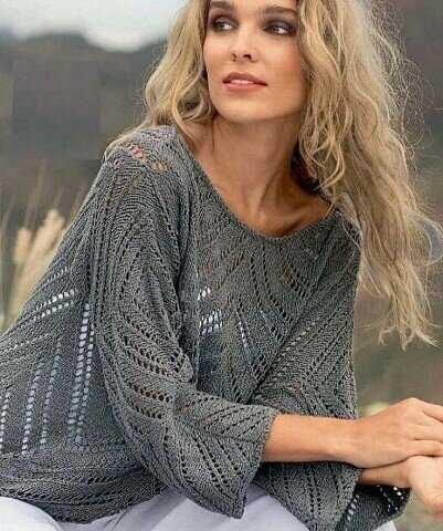 Пуловер с ажурным рисунком+схема.