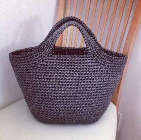 Схема вязания сумки корзины крючком из рафии